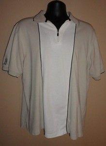 $16.95 Mens PGA Tour Half Zip Front Beige & White Polo Size: Medium