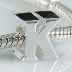 K - Initial Letter - Sterling Silver Charm Bead - fits Pandora, Chamilia etc style Bracelets - SpangleBead