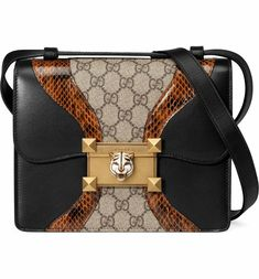 ac6369d79f59 Gucci Osiride Genuine Snakeskin & GG Supreme Shoulder Bag | Nordstrom