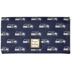 Dooney & Bourke NFL Signature Daphne Crossbody Wallet (Navy/Black... ($178) ❤ liked on Polyvore featuring bags, wallets, snap closure wallet, nfl wallets, dooney bourke crossbody, navy blue crossbody and card slot wallet