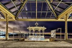 Dun Laoghaire pier Bandstand by night Dublin, Gazebo, Ireland, Outdoor Structures, Urban, Night, House Styles, City, Landscapes