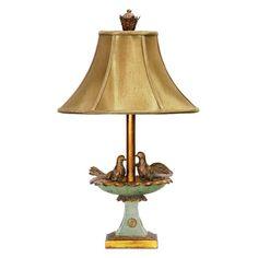 Birds in birdbath sculpted table lamp with green and gold finish.