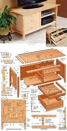 Media Cabinet Plans - Furniture Plans and Projects | WoodArchivist.com #WoodWorkingPlansFurniture