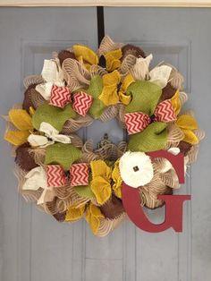Burlap, Chocolate Brown, Avocado, & Gold with handmade burlap flower