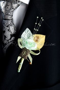 Unique, Elegant and Stylish Wedding Boutonniere - Designed for Groom, Best man, Prom, Ring bearer and any member of Your Special Event Party! It is easily secured with a pin. • Product: Velvet Leaf Fl