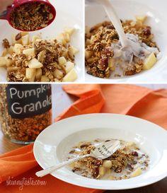 Skinny Pumpkin Granola via Skinnytaste. Nothing would make a morning feel more fall-like...and healthy.