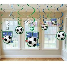 Soccer Ball Swirl Decorations (12) Birthday Party Supplies Sports Score More