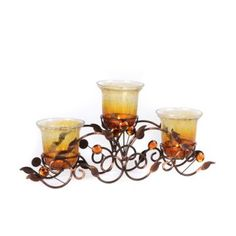 Amber Crackle Glass 3-Candle Runner