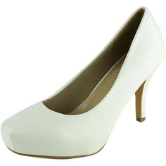 Womens Dress Shoes Square Toe Classy Slip On Pumps White SZ 6 ($22) ❤ liked on Polyvore featuring shoes, pumps, white, square-toe pumps, square toe dress shoes, dress shoes, slip-on shoes and white shoes