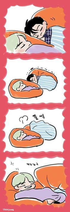 jungkook and suga😆 Bts Chibi, Bts Bangtan Boy, Bts Jimin, Monsta X, Bts Sleeping, Got7, Bts Anime, Dibujos Cute, Bts Drawings