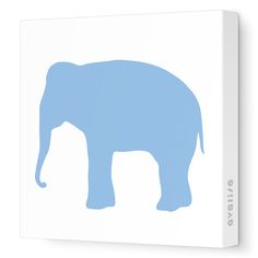 Blue Elephant Silhouette - Animal Silhouette - Avalisa.com #nursery #wallart #art #canvas