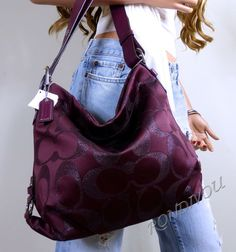 NWT-COACH-RED-BURGUNDY-LUREX-SIGNATURE-HOBO-SHOULDER-CROSSBODY-TOTE-BAG-PURSE