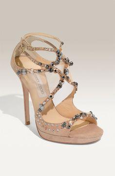 New Jimmy Choo Viola Nude Suede Crystal Mesh Platform Sandal Shoes Sz 5 5 35 5 | eBay