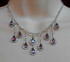 Art Deco Bib Necklace Open Back Amethyst Crystal Rhinestone