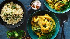 Sri Lankan prawn curry with coconut pol sambol