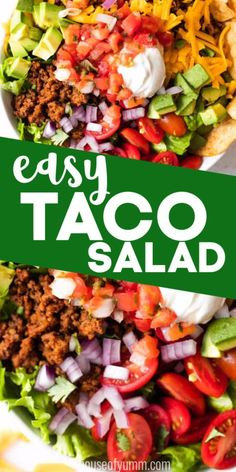 Easy Taco Salad Taco Salad. A Tex Mex classic that is always a big hit!! This salad is loaded up with all the best taco toppings including ground beef, cheese, tomatoes, sour cream and salsa! This salad recipe is quick and easy to make and sure to be a new favorite. #tacosalad #saladrecipes