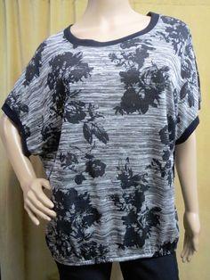 c5a00211bfba7 AB STUDIO Textured Knit Scoop Neck Dolman Tunic Top Black Gray Size S 4-6