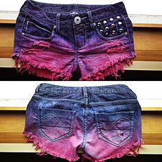 Guess shorts DIY dip dye studded frayed. @Geneva Watson do you think you could make something like this?