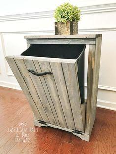 Wooden Trash Bin // Tilt Out Trash Bin // Single // Laundry Bin // Sorting Bin // Rustic Farmhouse Decor // Custom Built Furniture laundryroomstorage Wooden Pallet Projects, Woodworking Projects Diy, Pallet Furniture, Rustic Furniture, Antique Furniture, Modern Furniture, Modern Kitchen Trash Cans, Trash Can Cabinet, Palette Diy