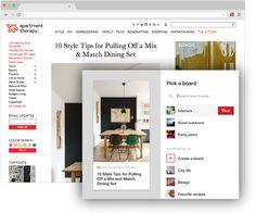 Κουμπί προγράμματος περιήγησης Pinterest για τον Chrome Αποθηκεύστε δημιουργικές ιδέες από το διαδίκτυο με ένα κλικ Κάντε απλώς κλικ όταν βρείτε κάτι που σας αρέσει σε κάποια άλλη ιστοσελίδα και θέλετε να το αποθηκεύσετε. Δοκιμάστε το!