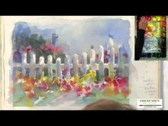 Watercolor Techniques with Judy Rider - Painting a White Picket Fence and Bluebird Pt2 - YouTube