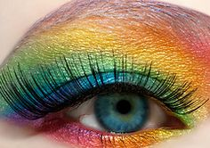 I love her eye color. The green in the center looks like an aerial view of a Caribbean island. – Das schönste Make-up Pretty Eyes, Cool Eyes, Beautiful Eyes, Rainbow Eye Makeup, Rainbow Eyes, Rainbow Brite, Rainbow Stuff, Neon Rainbow, Rainbow Colours