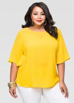 Buy Womens Plus Size Sheer Blouses - Ashley Stewart Plus Size Blouses, Plus Size Tops, Plus Size Women, Plus Size Dresses, Plus Size Outfits, Blouse Styles, Blouse Designs, Big Size Fashion, Plus Size Sewing