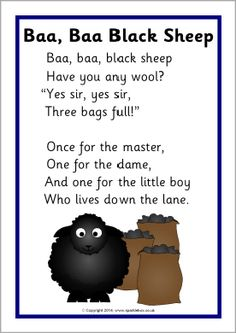 I chose this Nursery Rhyme as its a catchy nursery rhyme and its one of the first nursery rhymes I remember learning. This nursery rhyme to me is about how people sheer sheeps for their wool. © Copyright SparkleBox Teacher Resources (UK) Ltd Rhyming Preschool, Nursery Rhymes Preschool, Rhyming Activities, Preschool Farm, Farm Activities, Nursery Rhymes Lyrics, Nursery Rhyme Theme, Nursery Rhyme Crafts, Sheep Nursery