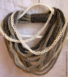 Плетеный шарф-ожерелье MIDI серый - серый,шарф-снуд,шарф снуд,шарф ожерелье