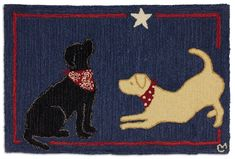 Max and Molly Hooked Dog Rug. Black and yellow Labrador dressed in their best bandannas play in the light of a shinning star. Blue background with a red line border. 100% durable New Zealand wool, hand-hooked rug with canvas back.  2'x3'