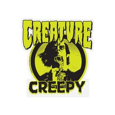 "Creature x Creepy Decal 3.75"" x 4"" Decal / Sticker Creature Skateboards, Creepy Comics, Decals, Creatures, Stickers, Artwork, Fictional Characters, Tags, Work Of Art"