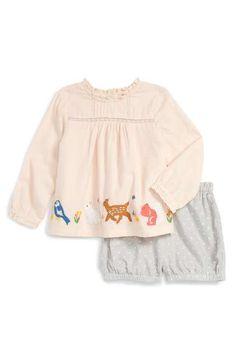 Mini Boden 'Woodland' Tunic & Shorts Set (Baby Girls & Toddler Girls)