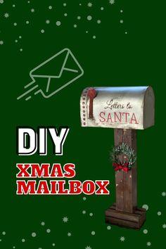 Make this rustic Christmas 'Letters to Santa' mailbox using an inexpensive cardboard mailbox and metal-like spray paint. #christmas #diy #crafts #christmasdiy #christmasdecor #dollartreediy #farmhousediy #rusticdiy