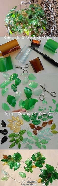Another recycling DIY - Leaves made from used plastic bottles. This gives SUCH an amazing effect. I think you have to score them for the leaf veins or something. Why not do different shapes. by Morwen Plastic Bottle Crafts, Recycle Plastic Bottles, Plastic Recycling, Soda Bottle Crafts, Fun Crafts, Diy And Crafts, Arts And Crafts, Recycled Bottles, Recycled Crafts