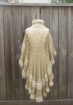 BEIGE CREAM PONCHO Crochet Knit Chic Boho Poncho by marianavail
