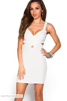 """Ginger"" Ivory White Plunging V Neck Cross Front Cut Out Dress"