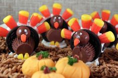 """Oreo Cookie Turkeys: """"Build a turkey with Oreos, candy and frosting -- a fun activity for kids at a Thanksgiving gathering that they can display at their dinner plate."""" -Pam-I-Am #ultimatethanksgiving"""