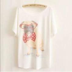 "Animal Print Tee New~Cute Dog Animal Print Tee New~Cute Dog Style- Loose Batwing Sleeve Length 25.98"" Bust: 43""-47"" Soft and Comfy Fit~Fabric: 65%Cotton, 35%Polyester Smoke FREE Home No Tradefirm unless bundled Cute Tops Tees - Short Sleeve"