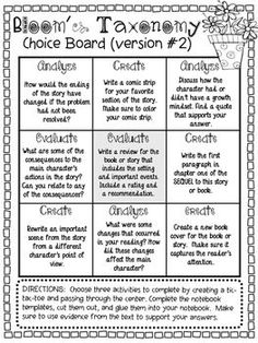 Bloom's Taxonomy Choice Boards Middle School Reading, 4th Grade Reading, Teaching Strategies, Teaching Tips, Teaching Art, Reading Activities, Teaching Reading, Gifted Education, Special Education