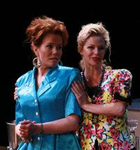 Laura Hanson and Julianne Christie in Woodinville Repertory Theatre's production of The Odd Couple (Female Version) by Neil Simon