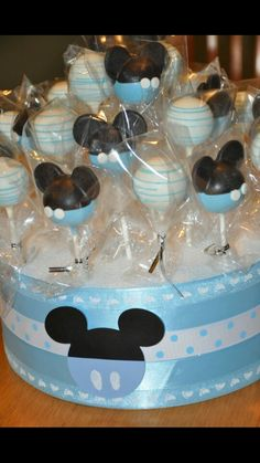 Blue and white mickey mouse cake pops