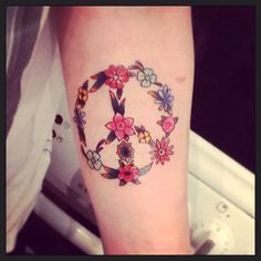 Peace tattoo flower power