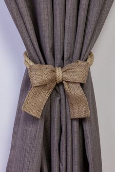 Gut Hemp Rope And Burlap Bow Curtain Tiebacks/ Nautical Ties/ Rope
