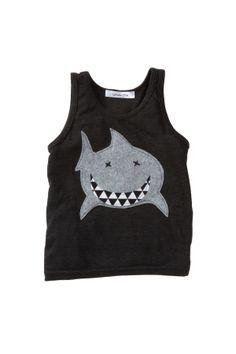 Shark Applique Tank (Baby & Little Boys)//
