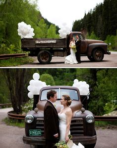 love the old truck picture idea