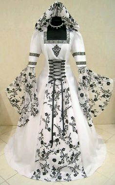 Celtic Wedding dress with black lace.