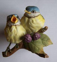 Vogel Kaiser Figur Porzellan Bisquitporz. Meisen Paar