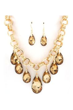 Dakota Necklace Set in Champagne Crystal - SALE