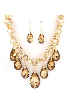 Dakota Necklace Set in Champagne Crystal - SALE