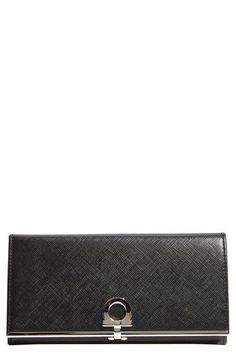'Gancini Icona' Saffiano Calfskin Wallet